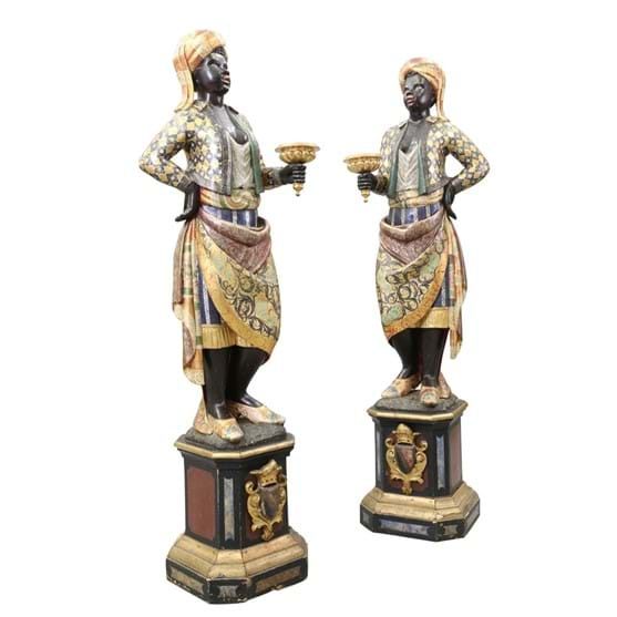 A PAIR OF ITALIAN POLYCHROME CARVED WOODEN FIGURES Image
