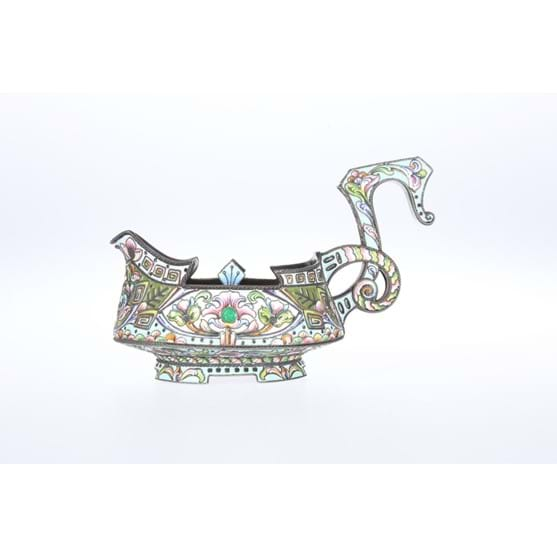 A RUSSIAN SILVER AND ENAMEL KOVSH Image