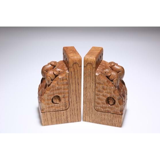 Lot 814ROBERT THOMPSON OF KILBURN A PAIR OF RARE...ROBERT THOMPSON OF KILBURN A PAIR OF RARE MOUSEMAN TRIPLE MOUSE OAK BOOKENDS Image