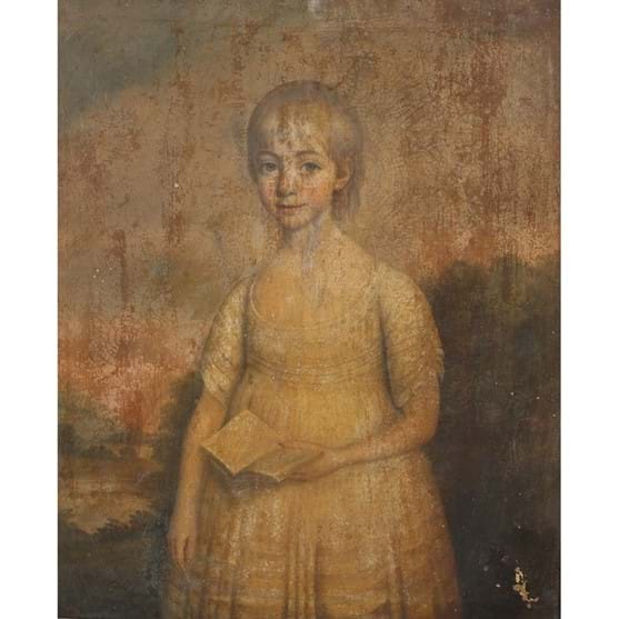 ENGLISH SCHOOL, PORTRAIT OF A GIRL HOLDING A BOOK Image