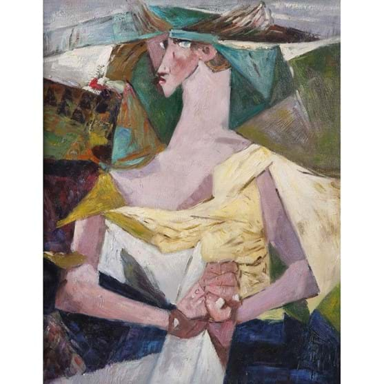 ATTRIBUTED TO LOUIS LE BROCQUY (1916-2012), WOMAN WITH NEWSPAPER Image