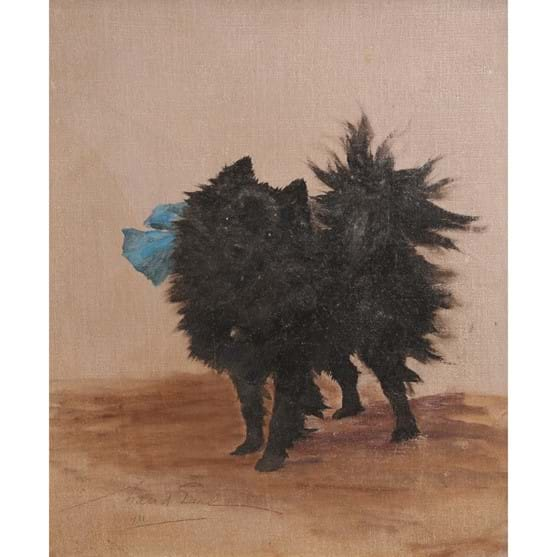 MAUD EARL (1864-1943), STUDY OF A POMERANIAN DOG WITH A BLUE BOW, Image