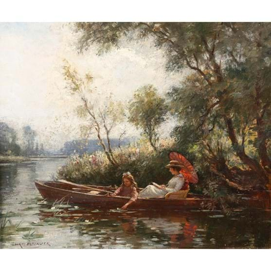 WILLIAM KAY BLACKLOCK (1872-1924), A LADY IN A BOAT READING A BOOK Image