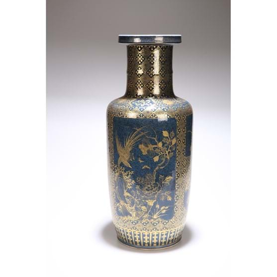 "A CHINESE POWDER-BLUE GROUND PORCELAIN ""ROULEAU"" VASE Image"